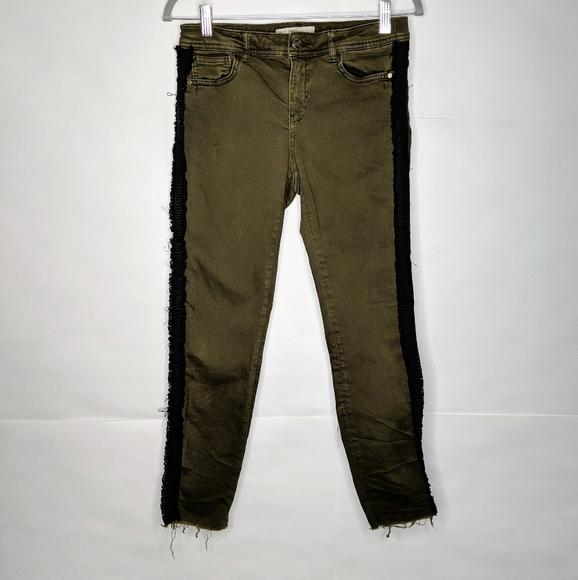 Zara Army Green Black Side Stripe Jeans Size 6